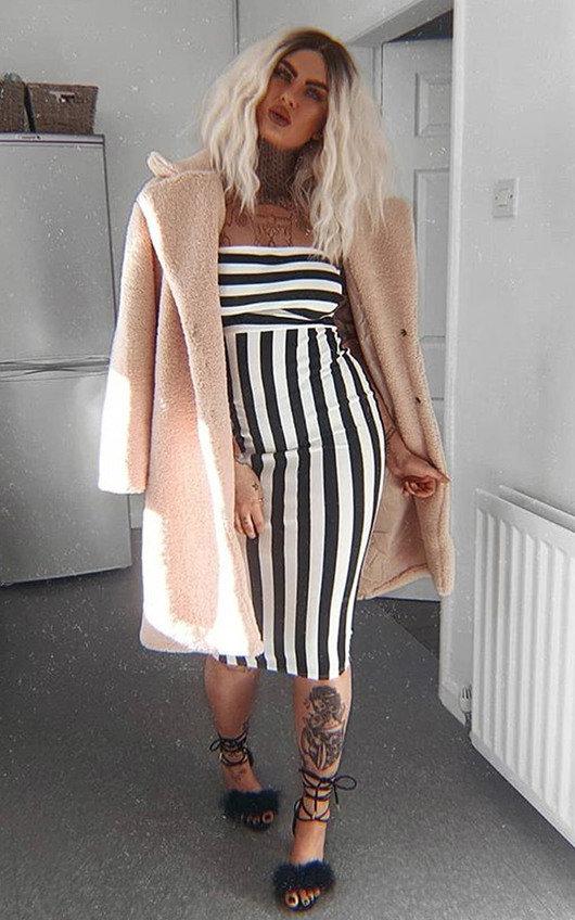 Silvee Bandeau Stripe Midi Dress