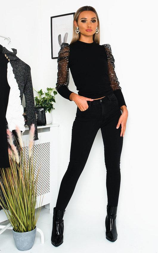Silvie Sheer Sequin Sleeve Jumper
