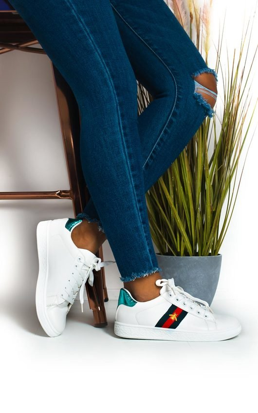 Simone Striped Bee Embellished Trainers