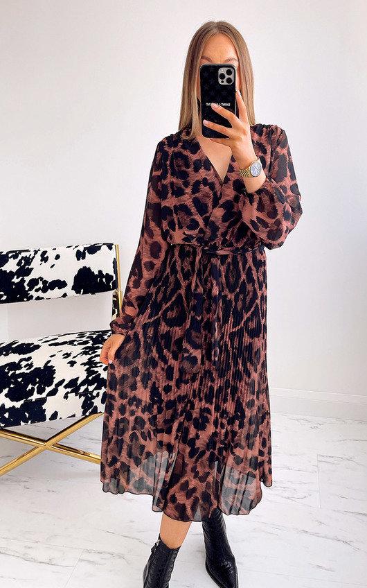 Skye Leopard Print Pleated Maxi Dress