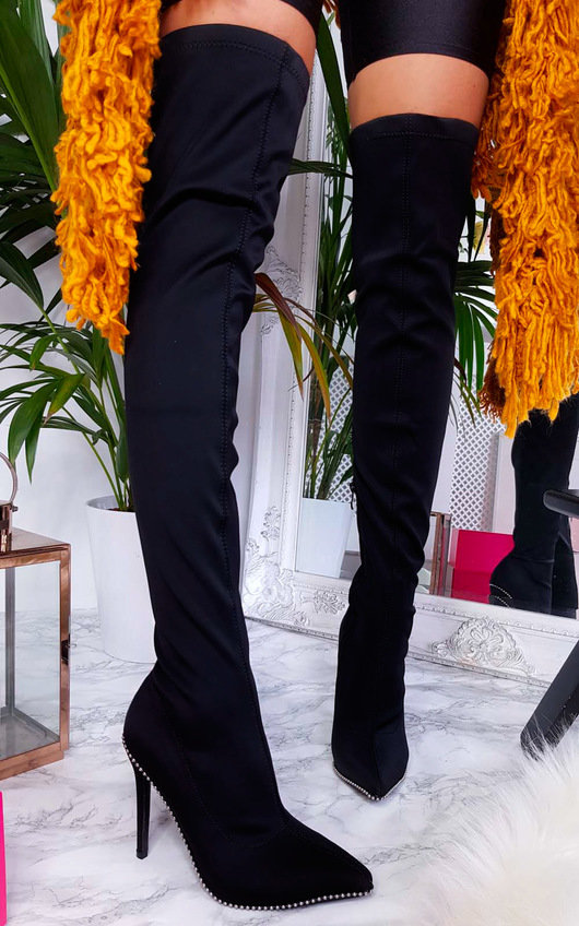 Sofi Stretch Thigh High Embellished Boots