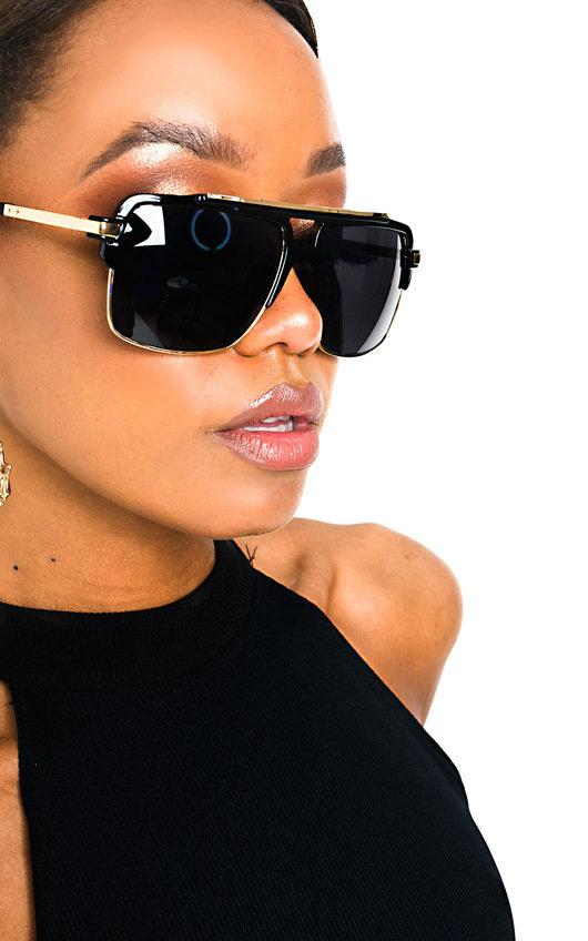 Sofia Square Lens Gold Detail Sunglasses