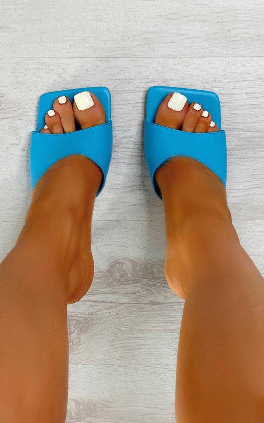 Sofia Square Toe Mule Heels