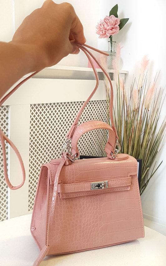 Sophia Croc Print Handbag