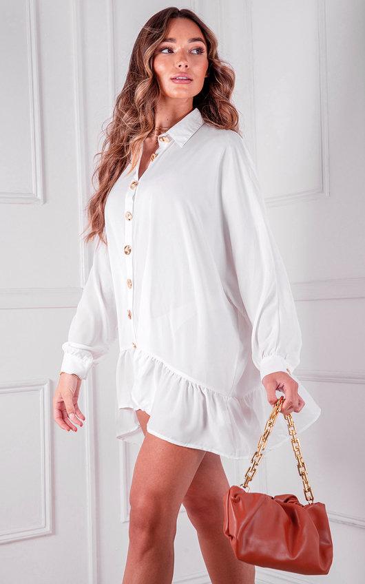 Sorelle Peplum Button Up Shirt Dress
