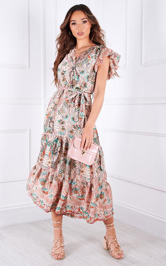 Sorelle Tiered Ruffle Sleeve Printed Maxi Dress