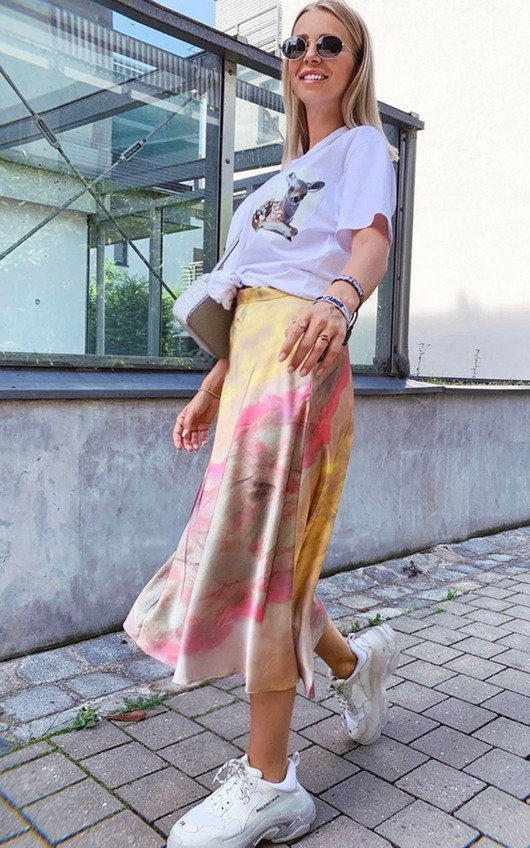 Sorrel Satin Tie Dye Midi Skirt