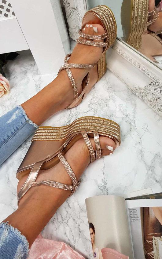 Sorsha Diamante Braided Wedged Heel