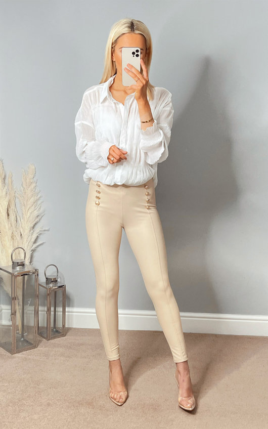 Sorsha Double Button Faux Leather Trousers