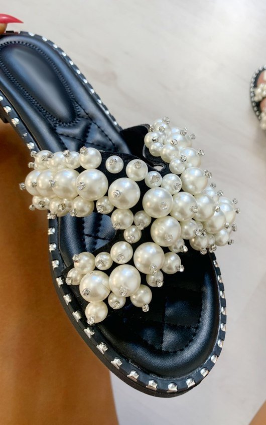 Sorsha Pearl Embellished Slip On Sandals