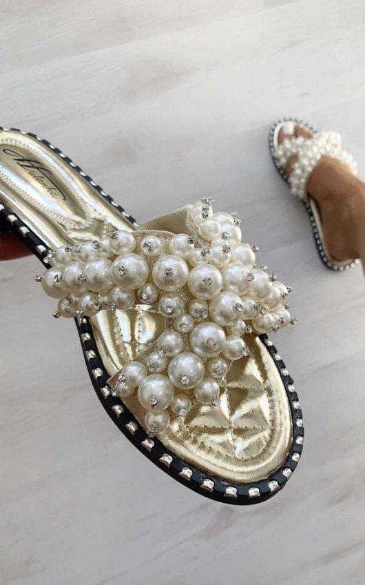 Sorsha Pearl Embellished Slip On Sandals