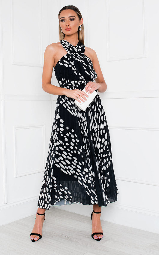 Sorsha Pleated Crossover Printed Maxi Dress