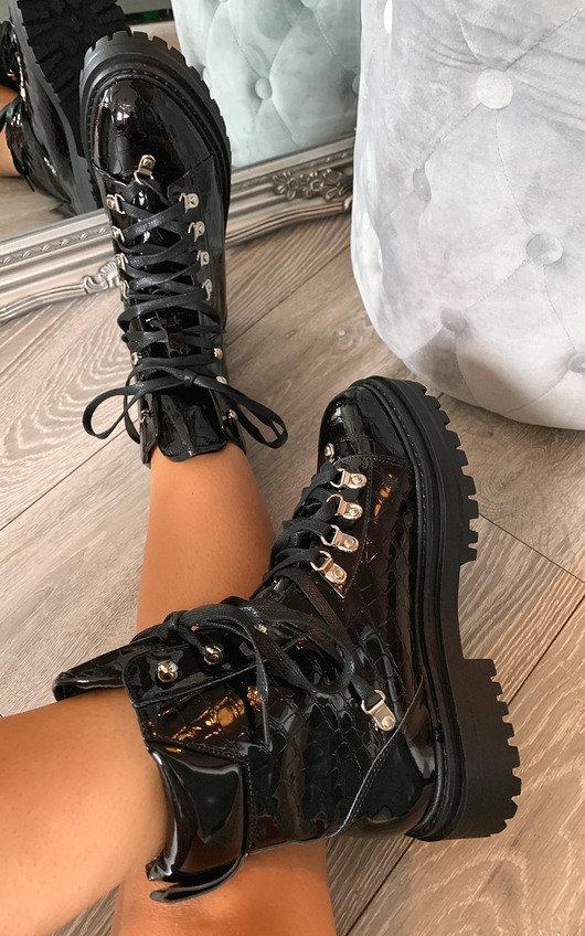 Stacey Croc Print Biker Boots