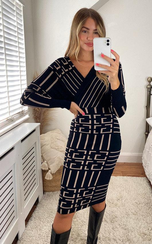 Stacey Midi Dress with Geometric Print