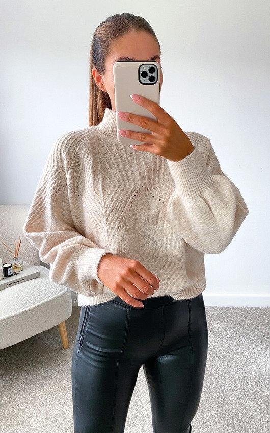 Stassy High Neck Oversized Sleeve Knitted Jumper