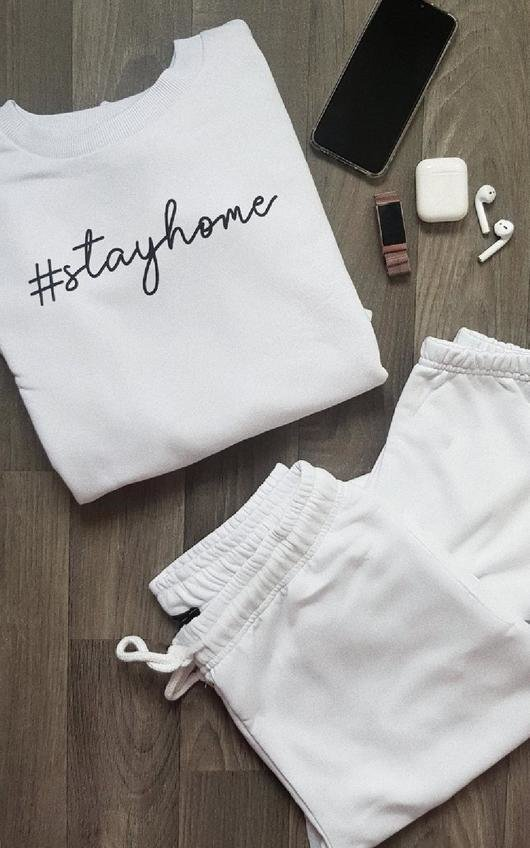 Stay Home Slogan Lounge Co-ord