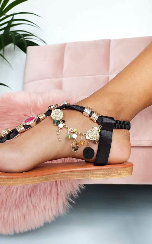 Steffi Chain Jewelled T-Bar Sandals