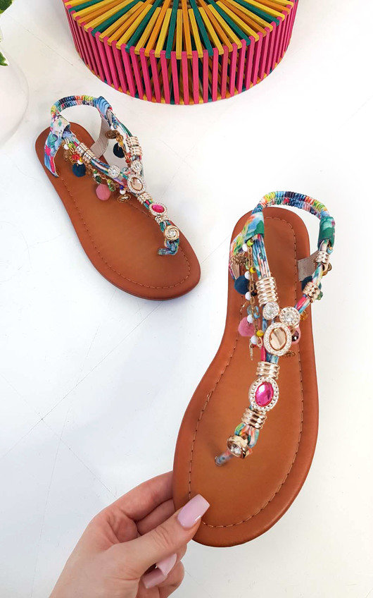 Steffi Chain Jewelled T-Bar Sandals