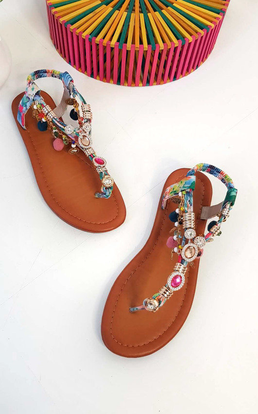 73e844354f9a Steffi Chain Jewelled T-Bar Sandals Thumbnail