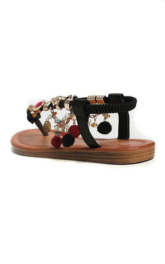 d19193231a35 Steffi Chain Jewelled T-Bar Sandals in Black
