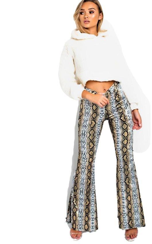 Steffi High Waist Flare Velour Trousers