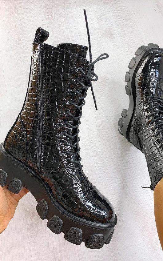 Steffi Mega Chunky Lace Up Croc Print Boots