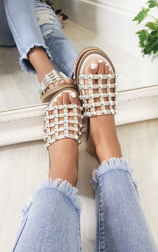Stella Studded Caged Open Toe Sliders