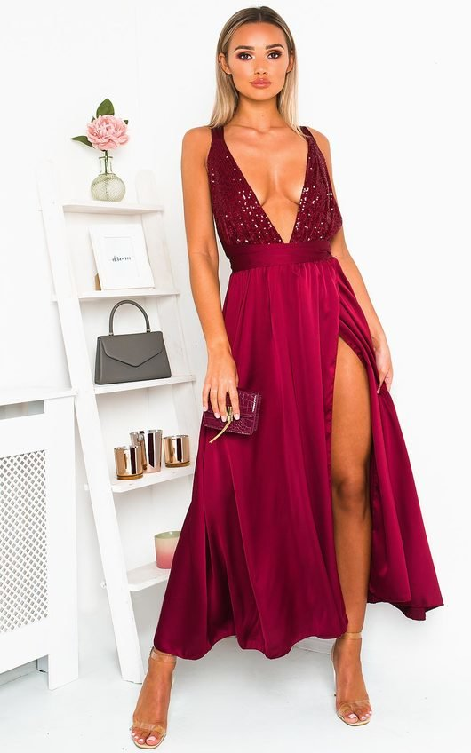 Stephanie Backless Sequin Midi Dress