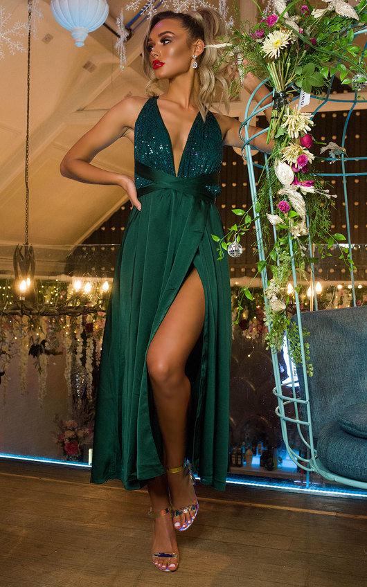 Stephanie Backless Sequin Midi Dress