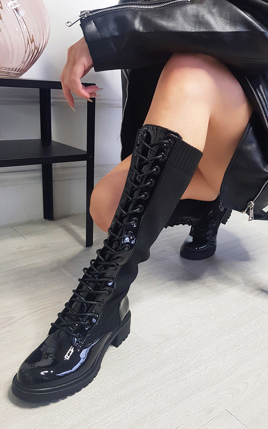 Stephanie Knee High Lace Up Boots
