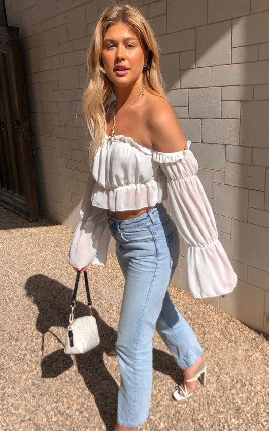 Stormi Off Shoulder Frill Crop Top