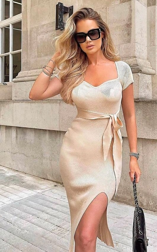 Summer Knitted Bodycon Midi Dress