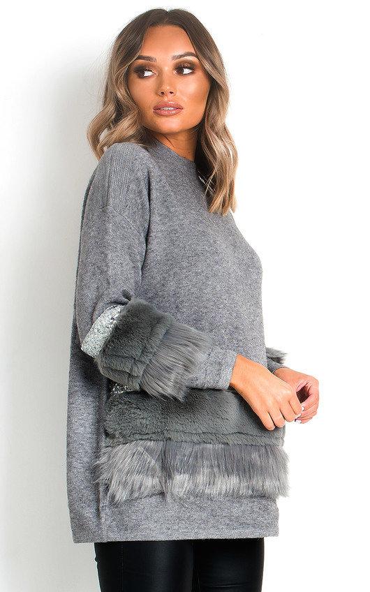 Suzi Faux Fur Sequins Embellished Jumper