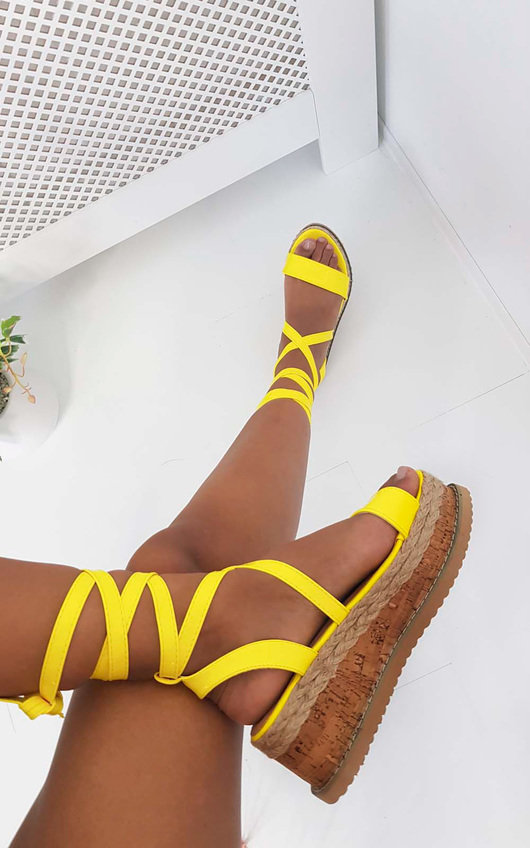 5951d17d4 Suzie Cork Strappy Wedge Sandals In Neon Yellow by Ikrush