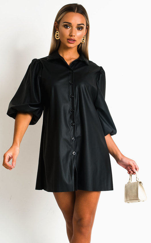 Sylvia Faux Leather Shirt Dress
