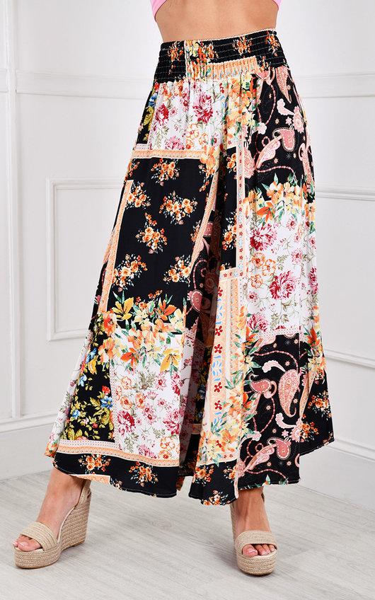 Sylwia Elastic High Waisted Wide Leg Printed Trousers