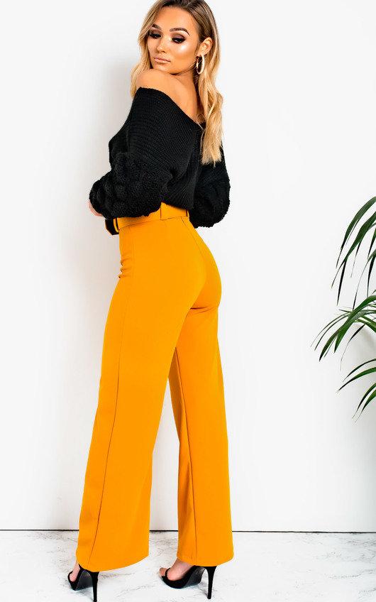 33c6fff13702 Tabby High Waist Belted Wide Leg Trousers in Mustard