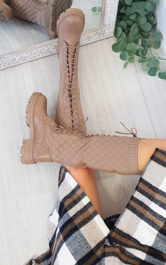 Tabitha Lace Up Quilted Knee High Boots