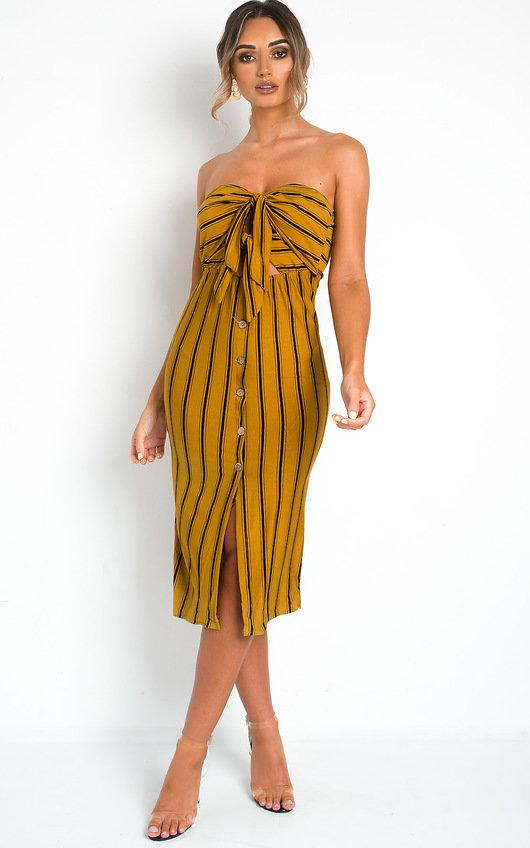 Tallia Bandeau Button Up Midi Dress