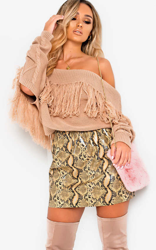 Tallie Off Shoulder Knitted Jumper