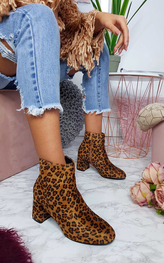 Tally Faux Suede Heeled Ankle Boots