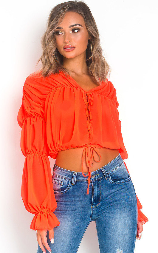 Tally Tie Front Frill Top