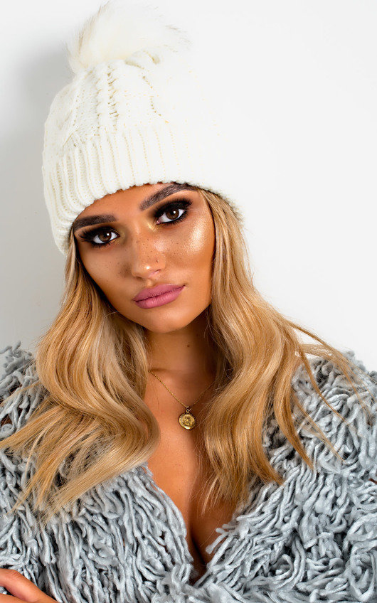 Tammy Faux Fur Lined Pom Pom Hat