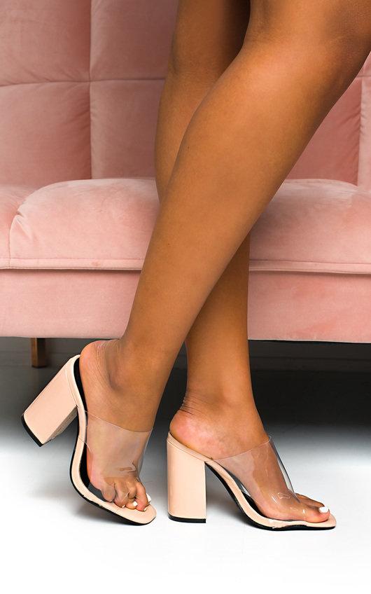 Tamra Perspex Peep Toe Mule Heels