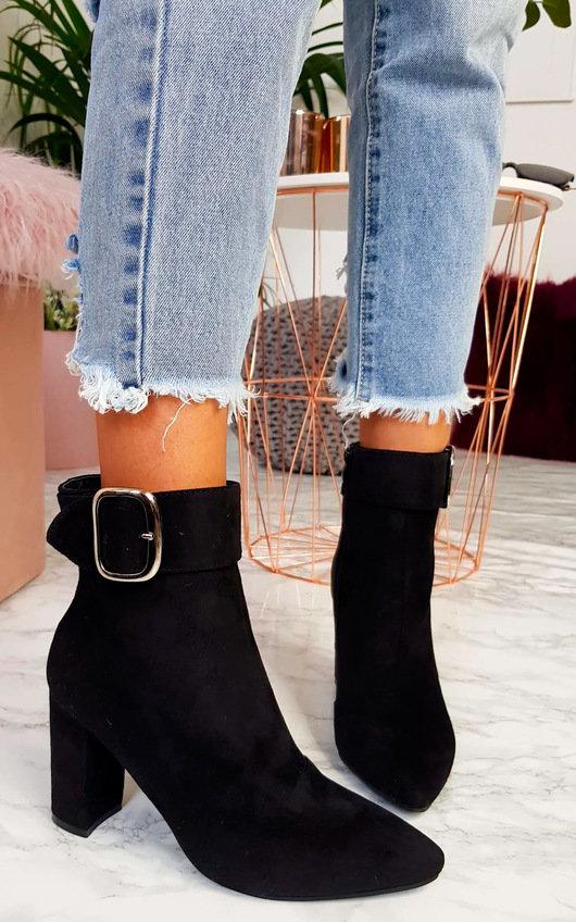 Tani Buckle Block Heel Ankle Boots