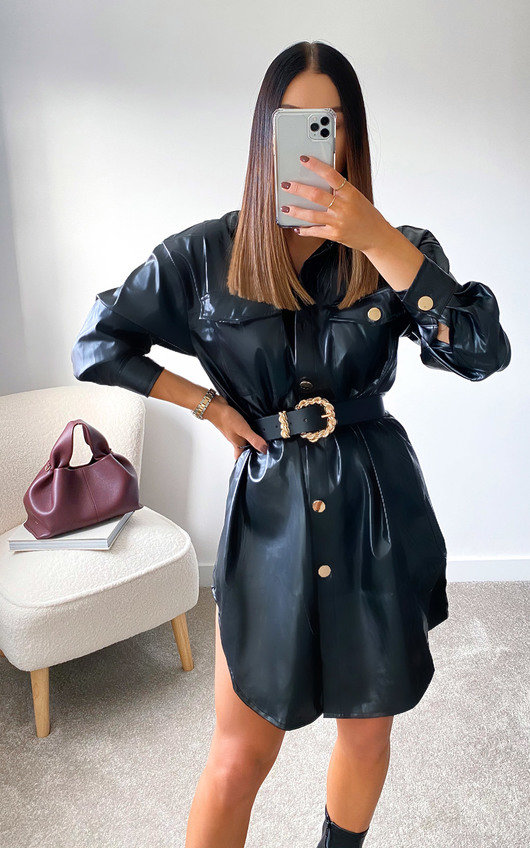 Tanya Faux Leather Belted Shirt Dress