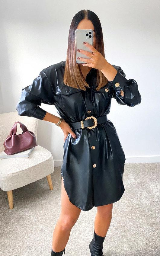Tanya Faux Leather Shirt Dress