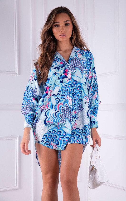 Tara Oversized Printed Button Up Shirt Dress
