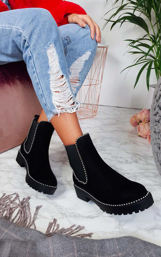 Tarra Faux Suede Chunky Heel Boots