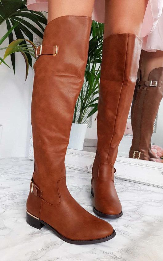 Tasha Buckle Knee High Boots
